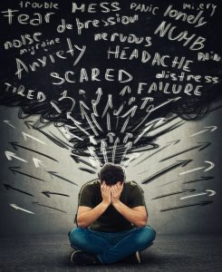 """A man sits with his hands covering his face. Words including """"anxiety, scared, failure"""" and others cloud around him. Anxiety treatment in Roswell, GA can provide the support you deserve, so contact an anxiety therapist today!"""